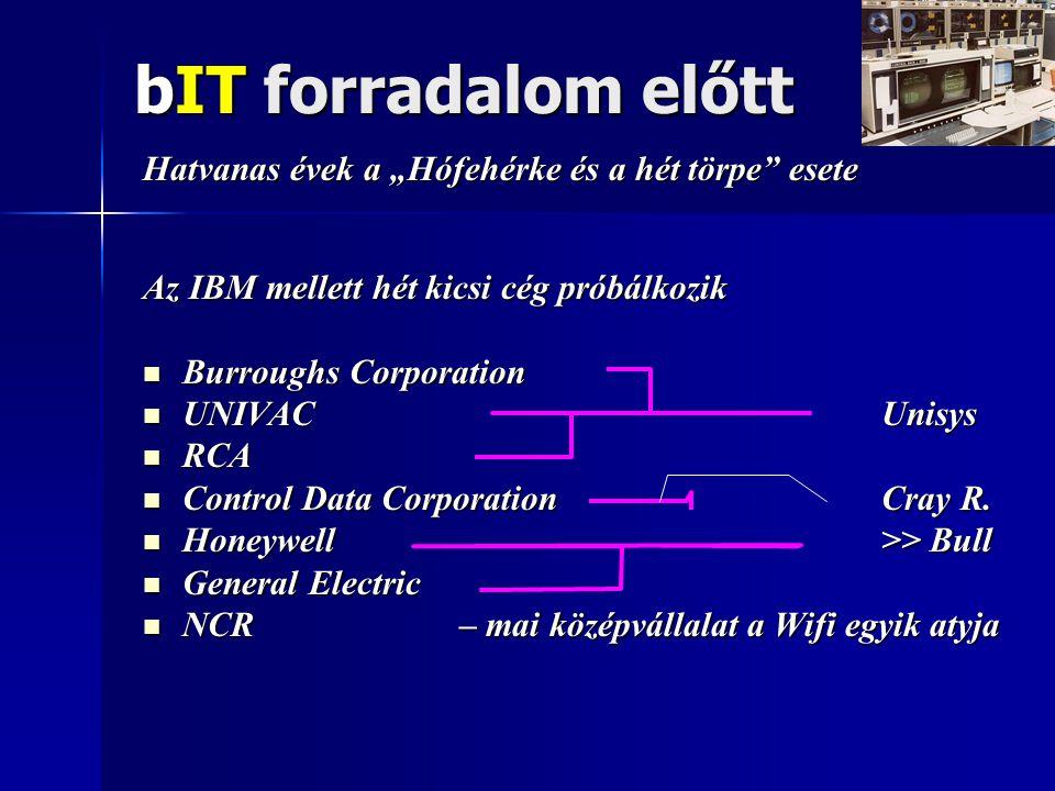 """bIT forradalom előtt Hatvanas évek a """"Hófehérke és a hét törpe esete Az IBM mellett hét kicsi cég próbálkozik  Burroughs Corporation  UNIVAC Unisys  RCA  Control Data Corporation Cray R."""