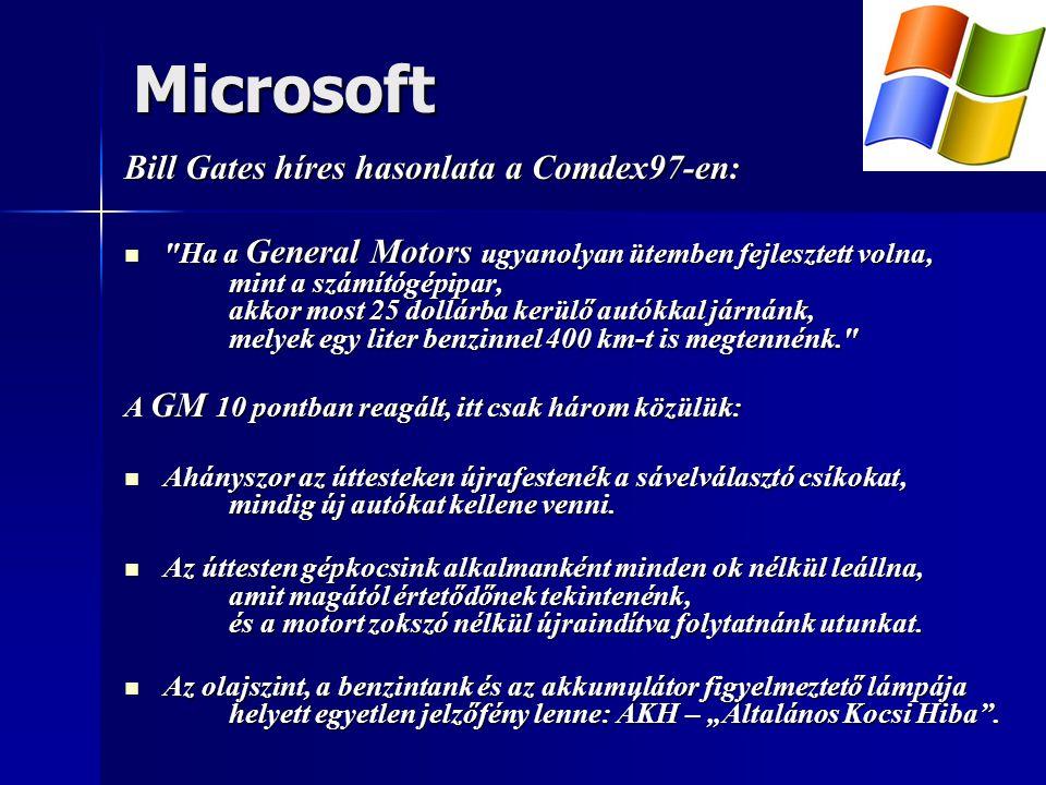 Microsoft Bill Gates híres hasonlata a Comdex97-en:  Ha a General Motors ugyanolyan ütemben fejlesztett volna, mint a számítógépipar, akkor most 25 dollárba kerülő autókkal járnánk, melyek egy liter benzinnel 400 km-t is megtennénk. A GM 10 pontban reagált, itt csak három közülük:  Ahányszor az úttesteken újrafestenék a sávelválasztó csíkokat, mindig új autókat kellene venni.