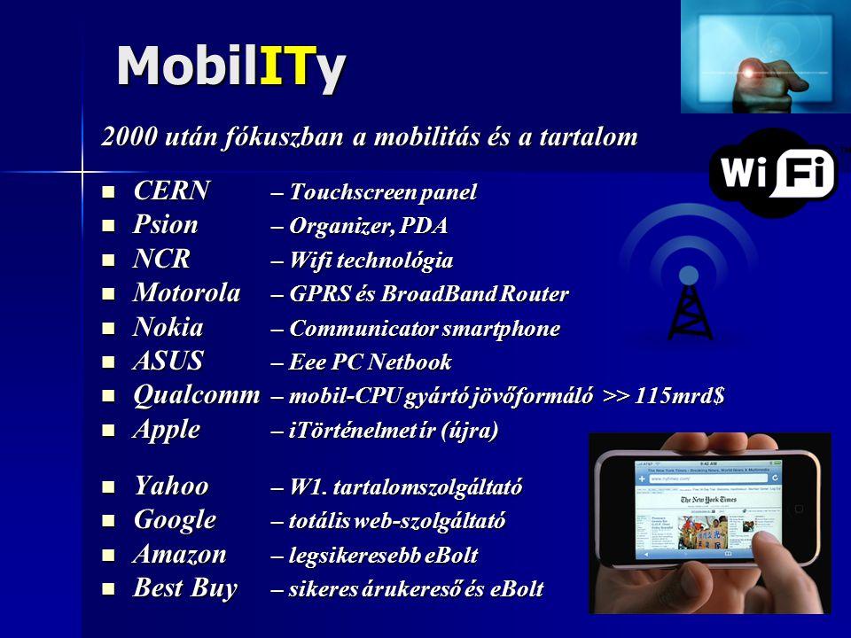 MobilITy 2000 után fókuszban a mobilitás és a tartalom  CERN – Touchscreen panel  Psion – Organizer, PDA  NCR – Wifi technológia  Motorola – GPRS és BroadBand Router  Nokia – Communicator smartphone  ASUS – Eee PC Netbook  Qualcomm – mobil-CPU gyártó jövőformáló >> 115mrd$  Apple – iTörténelmet ír (újra)  Yahoo – W1.
