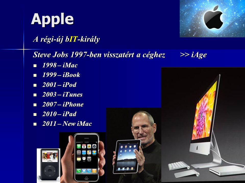 Apple A régi-új bIT-király Steve Jobs 1997-ben visszatért a céghez >> iAge  1998 – iMac  1999 – iBook  2001 – iPod  2003 – iTunes  2007 – iPhone  2010 – iPad  2011 – New iMac