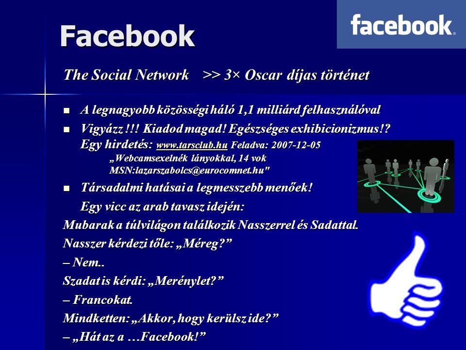 Facebook The Social Network >> 3× Oscar díjas történet  A legnagyobb közösségi háló 1,1 milliárd felhasználóval  Vigyázz !!.