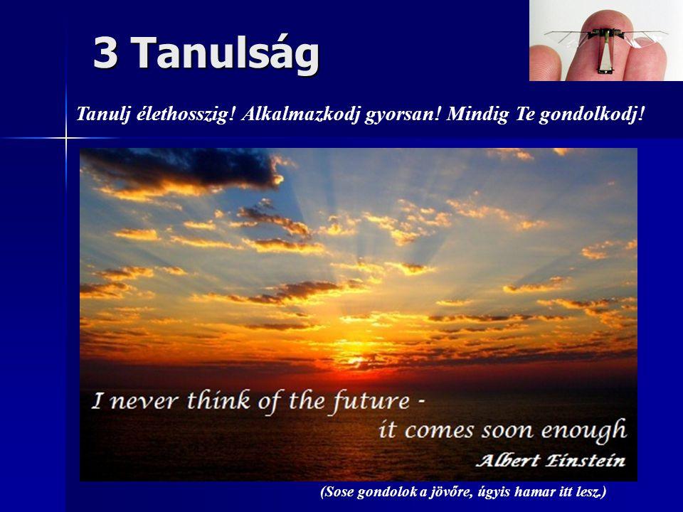 (Sose gondolok a jövőre, úgyis hamar itt lesz.) 3 Tanulság Tanulj élethosszig.