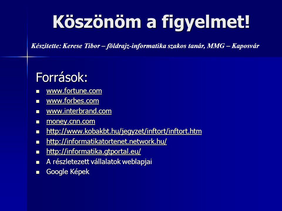 Források:  www.fortune.com www.fortune.com  www.forbes.com www.forbes.com  www.interbrand.com www.interbrand.com  money.cnn.com money.cnn.com  http://www.kobakbt.hu/jegyzet/inftort/inftort.htm http://www.kobakbt.hu/jegyzet/inftort/inftort.htm  http://informatikatortenet.network.hu/ http://informatikatortenet.network.hu/  http://informatika.gtportal.eu/ http://informatika.gtportal.eu/  A részletezett vállalatok weblapjai  Google Képek Köszönöm a figyelmet.