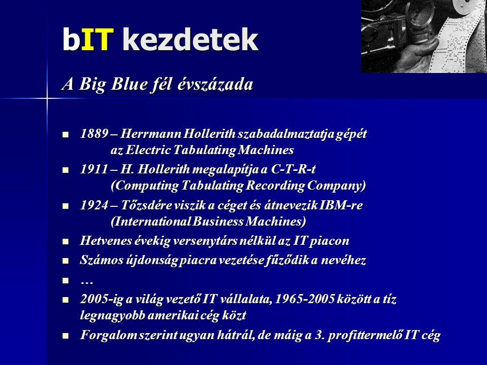 bIT kezdetek A Big Blue fél évszázada  1889 – Herrmann Hollerith szabadalmaztatja gépét az Electric Tabulating Machines  1911 – H.