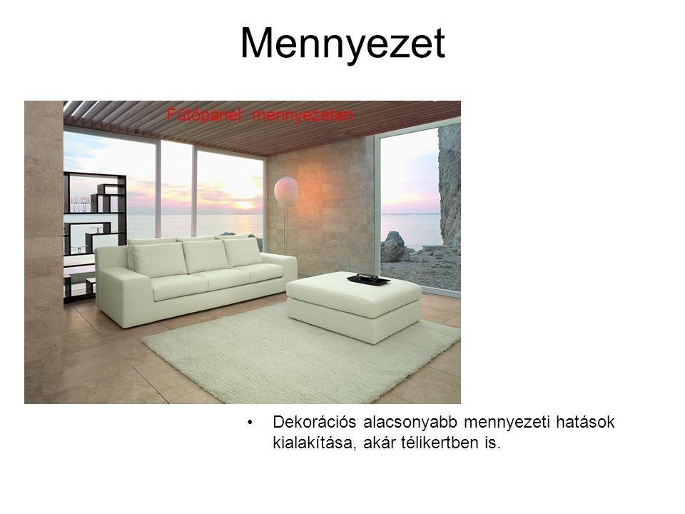 •Dekorációs alacsonyabb mennyezeti hatások kialakítása, akár télikertben is. Fűtőpanel: mennyezeten