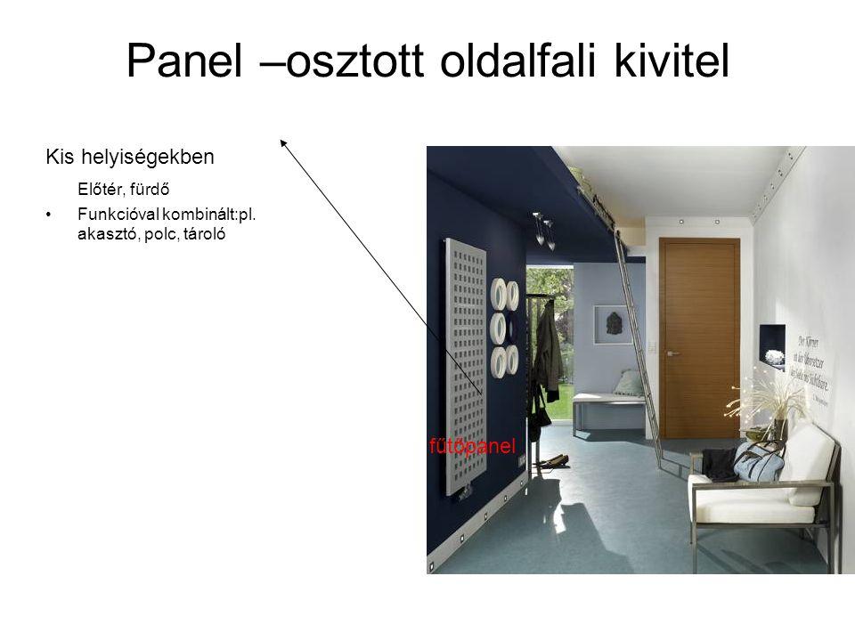 Panel –osztott oldalfali kivitel Kis helyiségekben Előtér, fürdő •Funkcióval kombinált:pl. akasztó, polc, tároló fűtőpanel