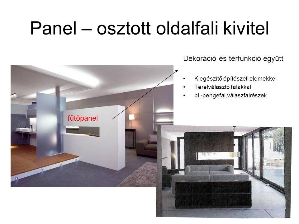 Dekoráció és térfunkció együtt •Kiegészítő építészeti elemekkel •Térelválasztó falakkal •pl.-pengefal,válaszfalrészek fűtőpanel Panel – osztott oldalf