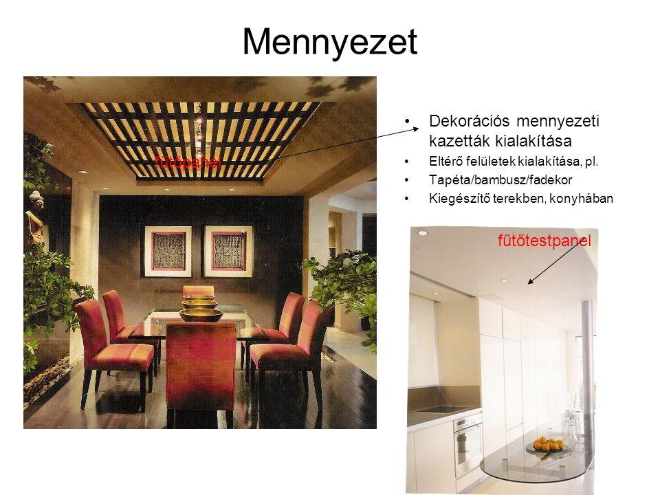 Mennyezet •Dekorációs mennyezeti kazetták kialakítása •Eltérő felületek kialakítása, pl. •Tapéta/bambusz/fadekor •Kiegészítő terekben, konyhában fűtőp