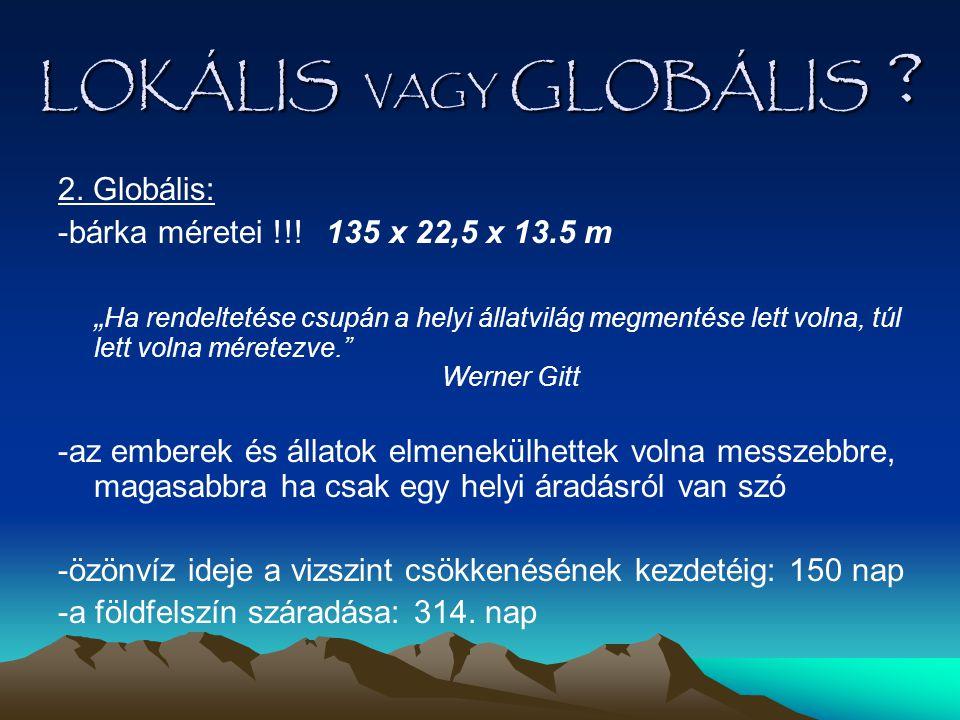 """LOKÁLIS VAGY GLOBÁLIS ? 2. Globális: -bárka méretei !!! 135 x 22,5 x 13.5 m """" Ha rendeltetése csupán a helyi állatvilág megmentése lett volna, túl let"""