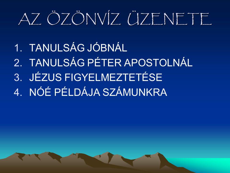 AZ ÖZÖNVÍZ ÜZENETE 1.TANULSÁG JÓBNÁL 2.TANULSÁG PÉTER APOSTOLNÁL 3.JÉZUS FIGYELMEZTETÉSE 4.NÓÉ PÉLDÁJA SZÁMUNKRA