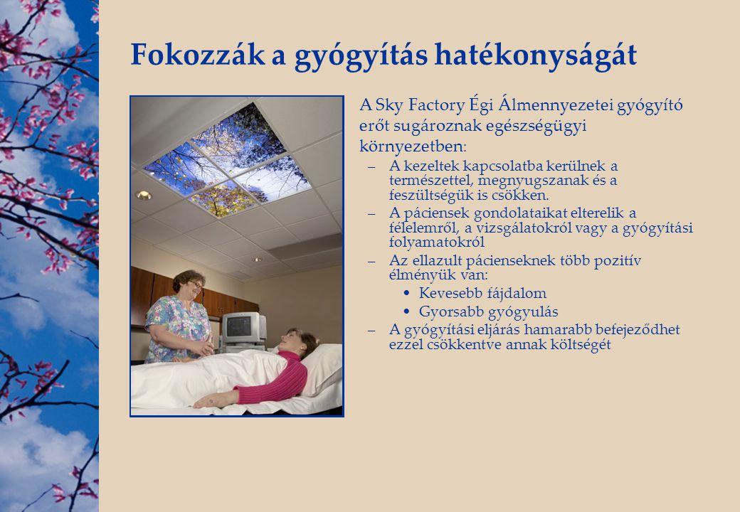 Fokozzák a gyógyítás hatékonyságát A Sky Factory Égi Álmennyezetei gyógyító erőt sugároznak egészségügyi környezetben : –A kezeltek kapcsolatba kerüln