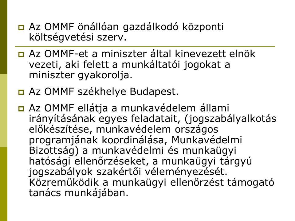  Az OMMF önállóan gazdálkodó központi költségvetési szerv.  Az OMMF-et a miniszter által kinevezett elnök vezeti, aki felett a munkáltatói jogokat a