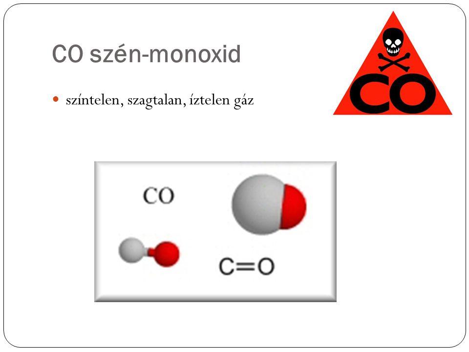 CO szén-monoxid  színtelen, szagtalan, íztelen gáz