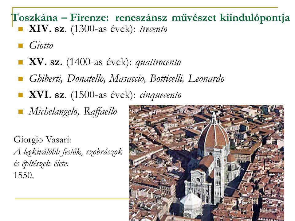 Toszkána – Firenze: reneszánsz művészet kiindulópontja  XIV. sz. (1300-as évek): trecento  Giotto  XV. sz. (1400-as évek): quattrocento  Ghiberti,