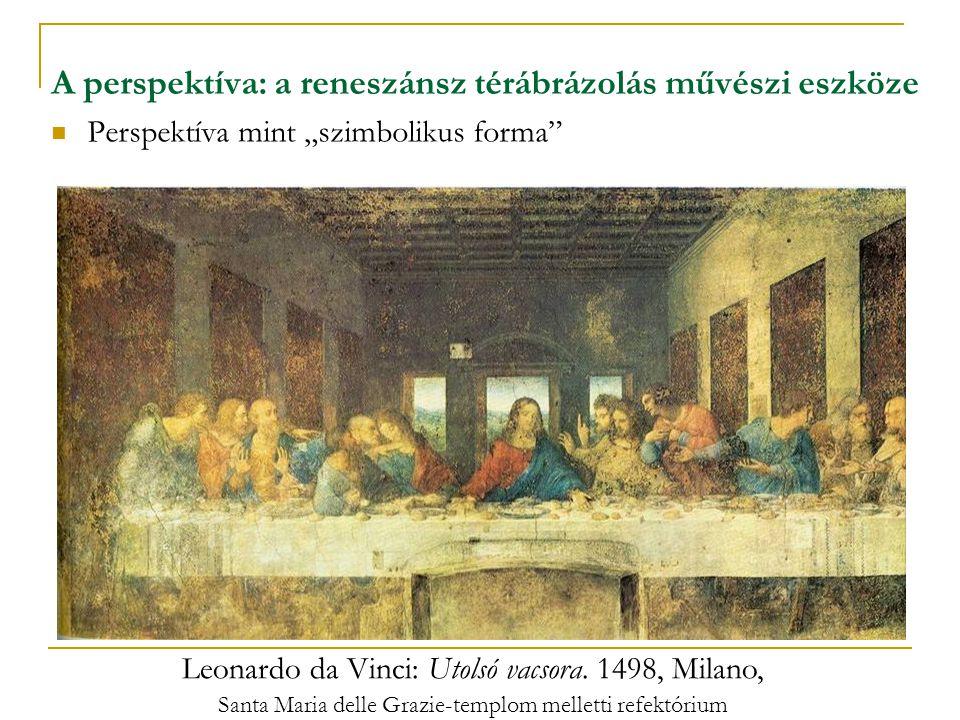 """A perspektíva: a reneszánsz térábrázolás művészi eszköze  Perspektíva mint """"szimbolikus forma"""" Leonardo da Vinci: Utolsó vacsora. 1498, Milano, Santa"""