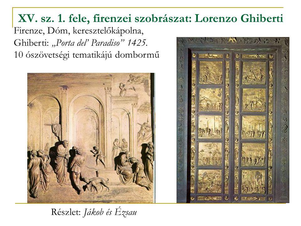 """XV. sz. 1. fele, firenzei szobrászat: Lorenzo Ghiberti Firenze, Dóm, keresztelőkápolna, Ghiberti: """"Porta del' Paradiso"""" 1425. 10 ószövetségi tematikáj"""