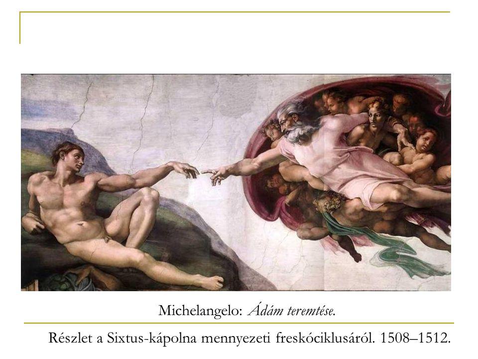 Michelangelo: Ádám teremtése. Részlet a Sixtus-kápolna mennyezeti freskóciklusáról. 1508–1512.