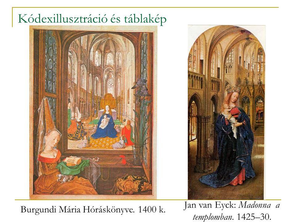 Kódexillusztráció és táblakép Burgundi Mária Hóráskönyve. 1400 k. Jan van Eyck: Madonna a templomban. 1425–30.