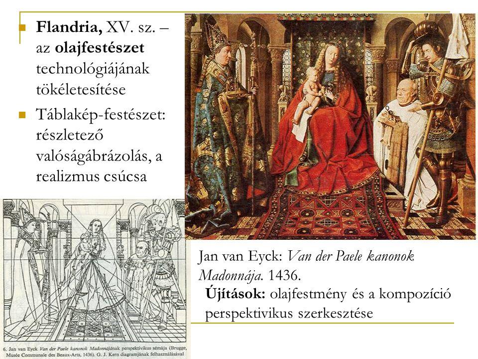  Flandria, XV. sz. – az olajfestészet technológiájának tökéletesítése  Táblakép-festészet: részletező valóságábrázolás, a realizmus csúcsa Jan van E
