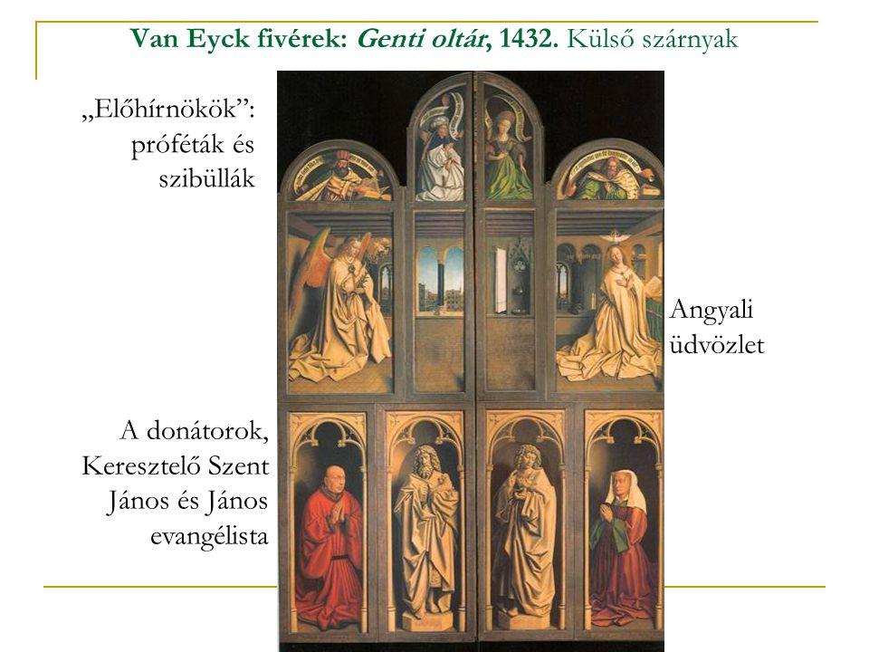 """Van Eyck fivérek: Genti oltár, 1432. Külső szárnyak A donátorok, Keresztelő Szent János és János evangélista """"Előhírnökök"""": próféták és szibüllák Angy"""