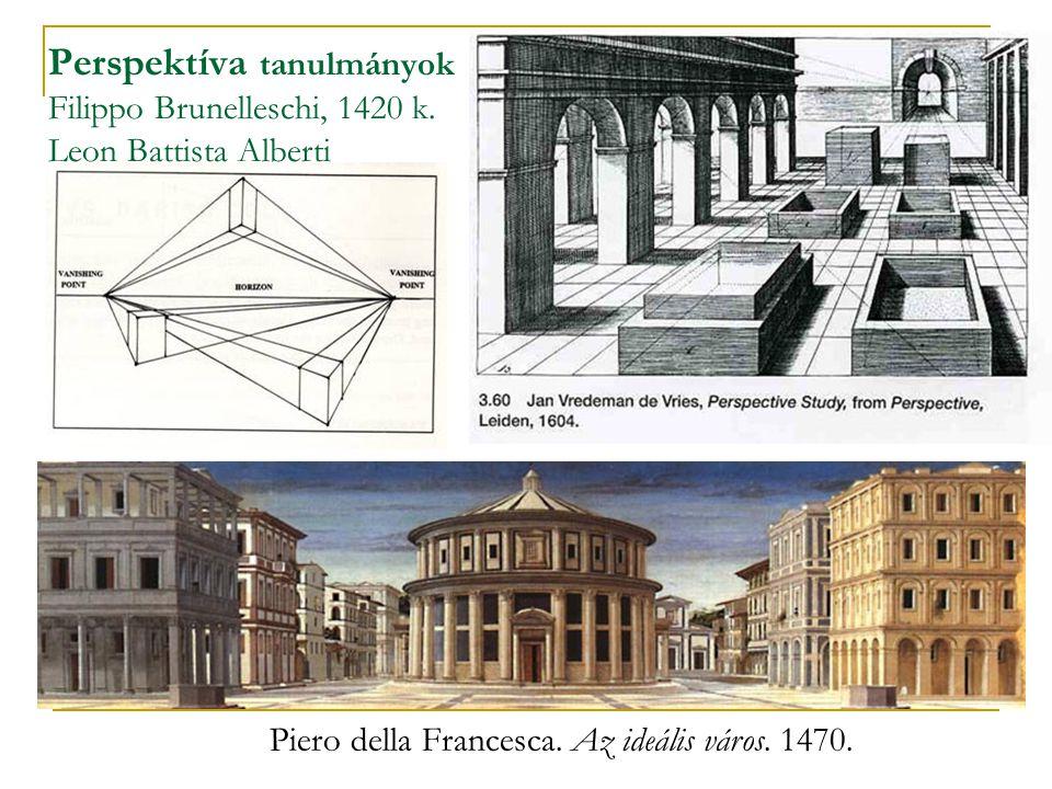 Perspektíva tanulmányok Filippo Brunelleschi, 1420 k. Leon Battista Alberti Piero della Francesca. Az ideális város. 1470.