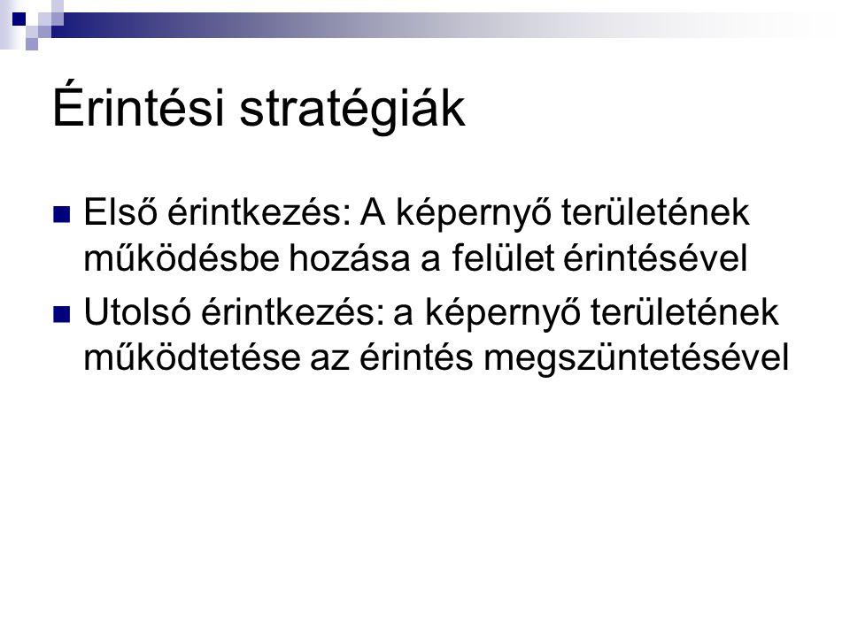 Érintési stratégiák  Első érintkezés: A képernyő területének működésbe hozása a felület érintésével  Utolsó érintkezés: a képernyő területének működ