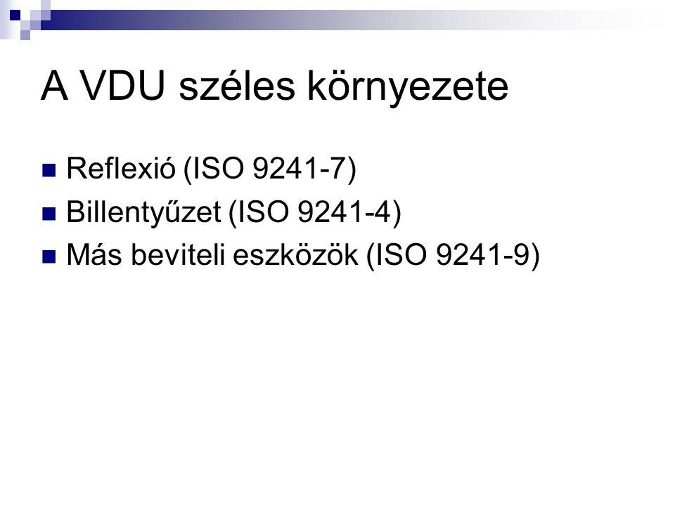A VDU széles környezete  Reflexió (ISO 9241-7)  Billentyűzet (ISO 9241-4)  Más beviteli eszközök (ISO 9241-9)