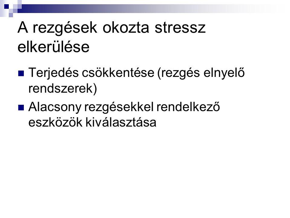 A rezgések okozta stressz elkerülése  Terjedés csökkentése (rezgés elnyelő rendszerek)  Alacsony rezgésekkel rendelkező eszközök kiválasztása