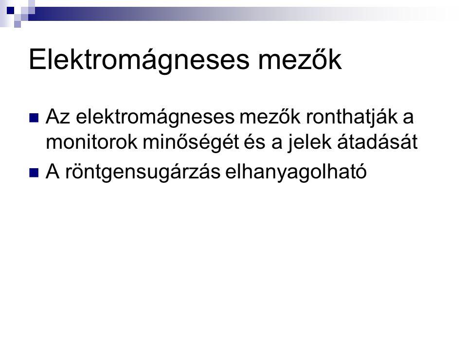 Elektromágneses mezők  Az elektromágneses mezők ronthatják a monitorok minőségét és a jelek átadását  A röntgensugárzás elhanyagolható