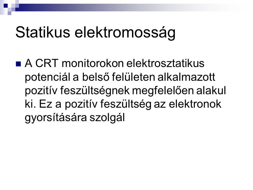 Statikus elektromosság  A CRT monitorokon elektrosztatikus potenciál a belső felületen alkalmazott pozitív feszültségnek megfelelően alakul ki. Ez a