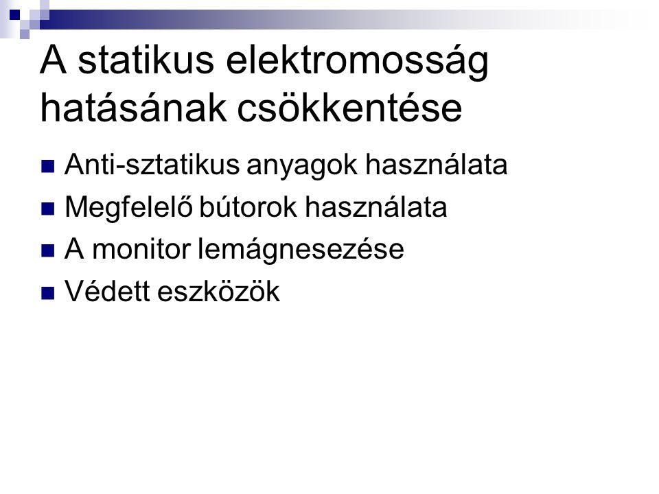 A statikus elektromosság hatásának csökkentése  Anti-sztatikus anyagok használata  Megfelelő bútorok használata  A monitor lemágnesezése  Védett e
