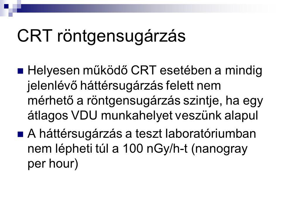CRT röntgensugárzás  Helyesen működő CRT esetében a mindig jelenlévő háttérsugárzás felett nem mérhető a röntgensugárzás szintje, ha egy átlagos VDU