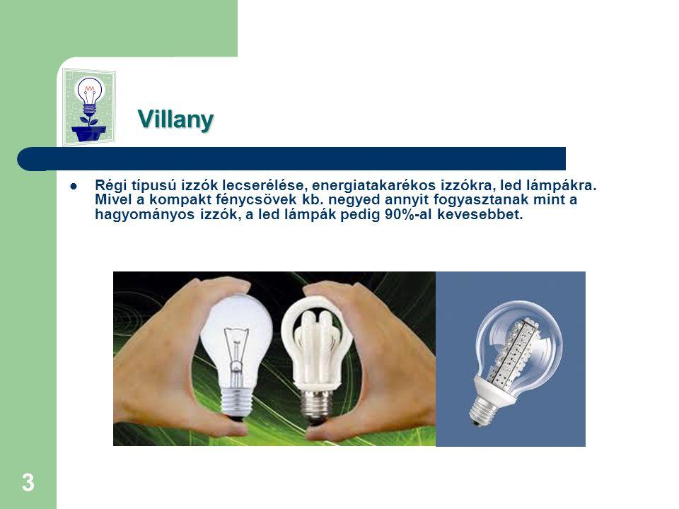 3 Villany Villany  Régi típusú izzók lecserélése, energiatakarékos izzókra, led lámpákra.