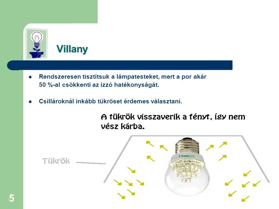 4 Villany Fontos itt megemlíteni, hogy a régi típusú izzók inkább fűtenek mint világítanak, mert a felhasznált energiának csak 2%-át hasznosítják világításként, a többi a hőtermelésre megy el.