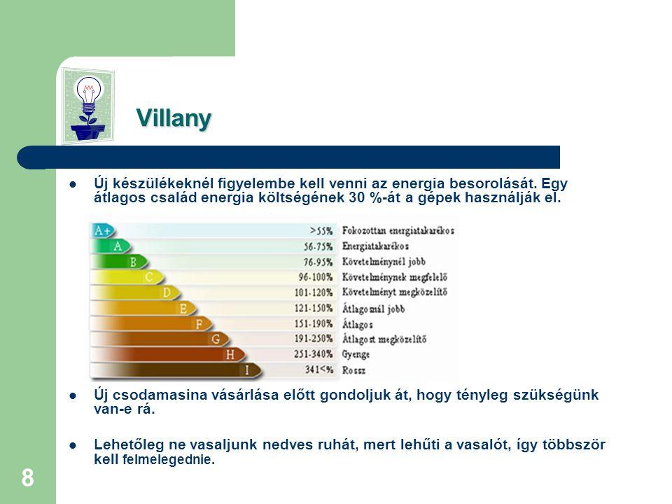 8 Villany Villany  Új készülékeknél figyelembe kell venni az energia besorolását.