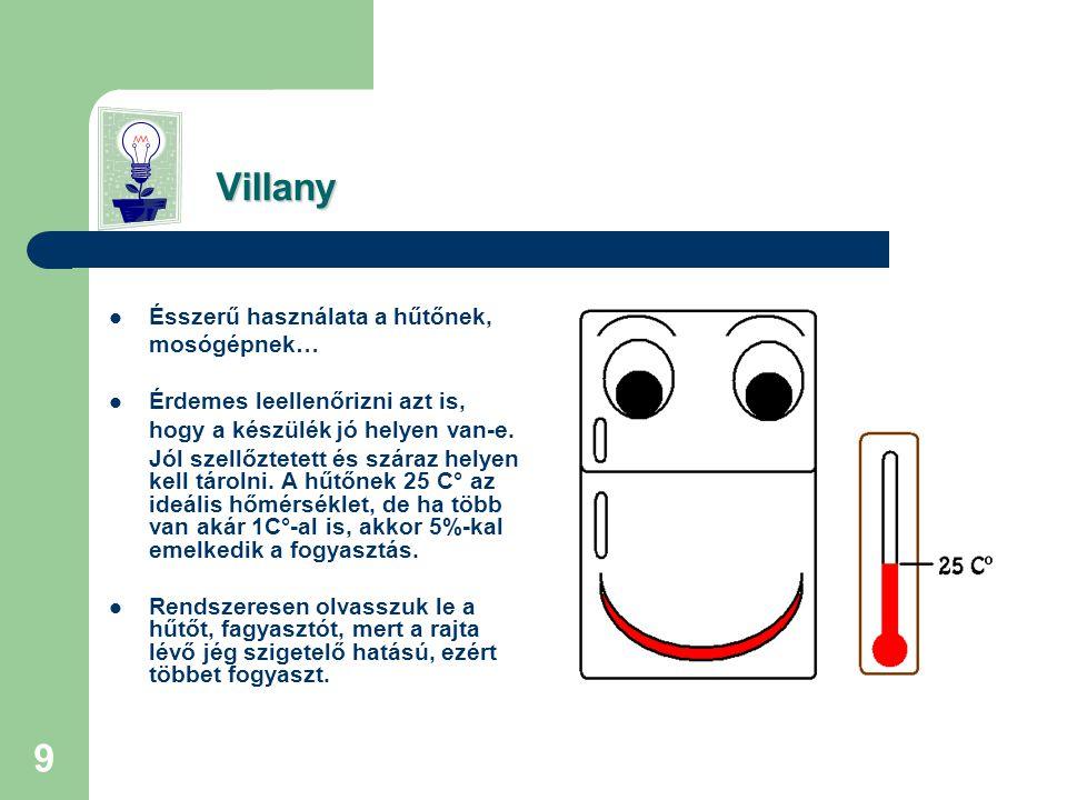 9 Villany Villany  Ésszerű használata a hűtőnek, mosógépnek…  Érdemes leellenőrizni azt is, hogy a készülék jó helyen van-e.