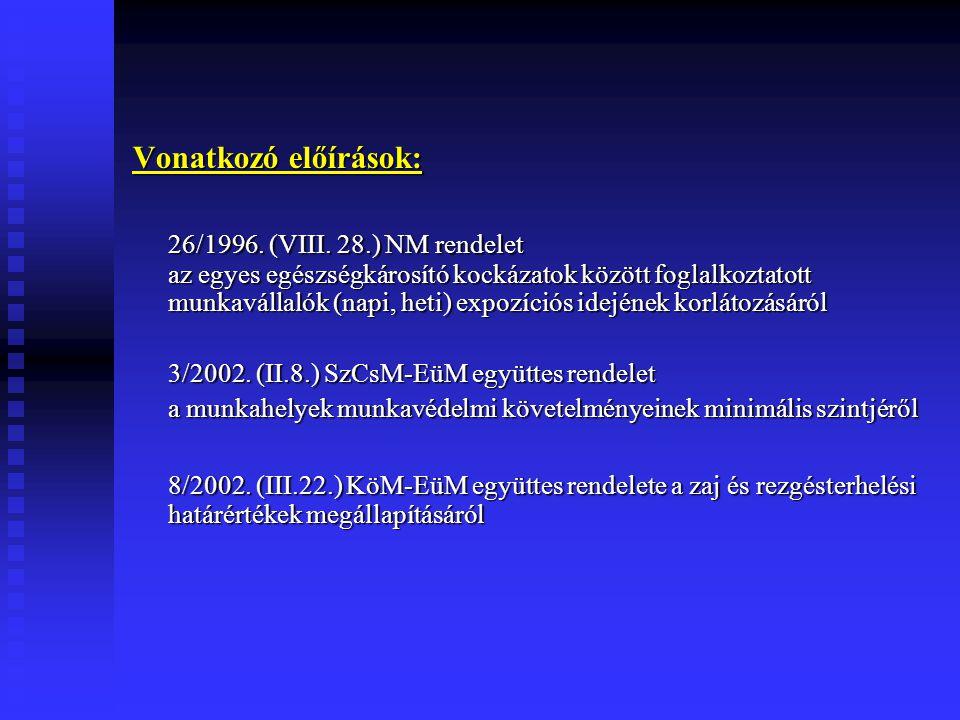 Vonatkozó előírások: 26/1996. (VIII. 28.) NM rendelet az egyes egészségkárosító kockázatok között foglalkoztatott munkavállalók (napi, heti) expozíció