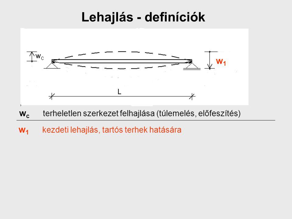 Lehajlás - definíciók w c terheletlen szerkezet felhajlása (túlemelés, előfeszítés) w 1 kezdeti lehajlás, tartós terhek hatására w1w1
