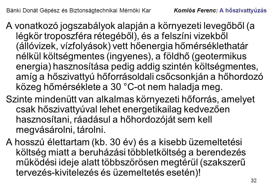 32 Bánki Donát Gépész és Biztonságtechnikai Mérnöki Kar Komlós Ferenc: A hőszivattyúzás A vonatkozó jogszabályok alapján a környezeti levegőből (a lég