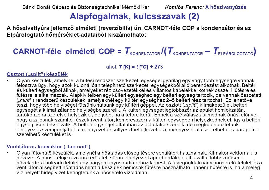 4 Bánki Donát Gépész és Biztonságtechnikai Mérnöki Kar Komlós Ferenc: A hőszivattyúzás Alapfogalmak, kulcsszavak (2) A hőszivattyúra jellemző elméleti
