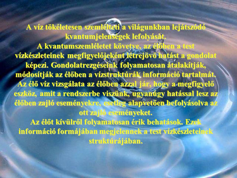 A víz tökéletesen szemlélteti a világunkban lejátszódó kvantumjelenségek lefolyását. A kvantumszemléletet követve, az élőben a test vízkészleteinek me
