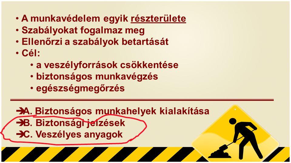 • A munkavédelem egyik részterülete • Szabályokat fogalmaz meg • Ellenőrzi a szabályok betartását • Cél: • a veszélyforrások csökkentése • biztonságos