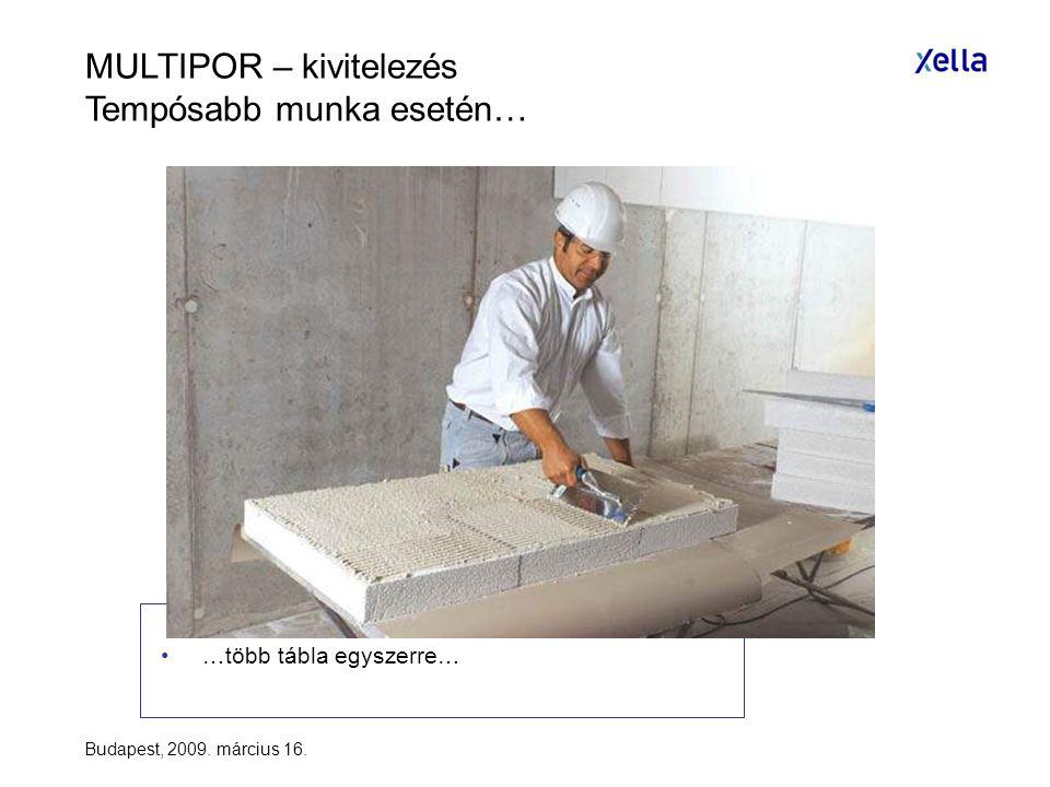 Budapest, 2009. március 16. •…több tábla egyszerre… MULTIPOR – kivitelezés Tempósabb munka esetén…