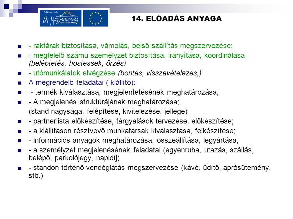 14. ELŐADÁS ANYAGA  - raktárak biztosítása, vámolás, belső szállítás megszervezése;  - megfelelő számú személyzet biztosítása, irányítása, koordinál