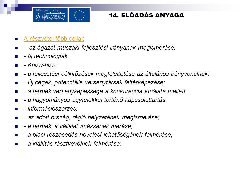 14. ELŐADÁS ANYAGA  A részvétel főbb céljai:  - az ágazat műszaki-fejlesztési irányának megismerése;  - új technológiák;  - Know-how;  - a fejles