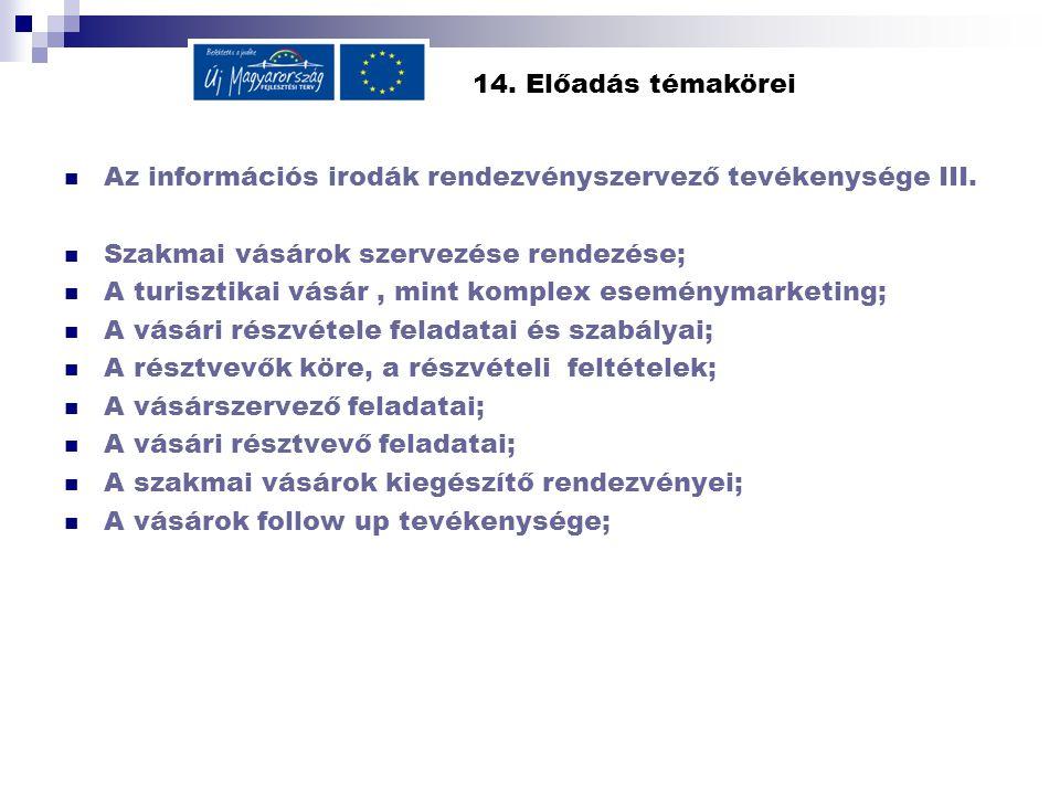 14.Előadás témakörei  Az információs irodák rendezvényszervező tevékenysége III.