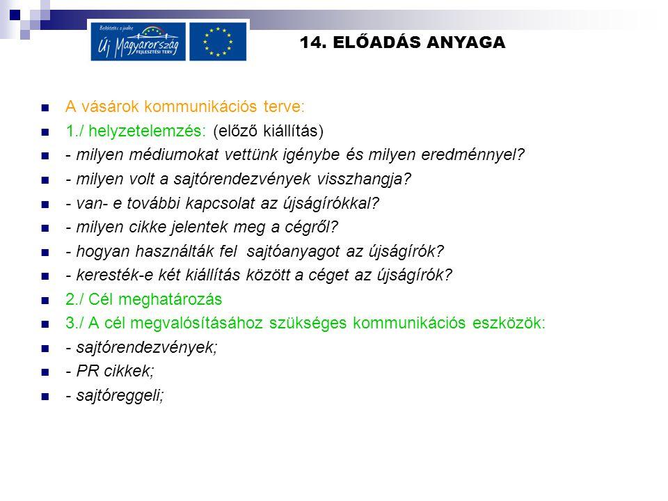 14. ELŐADÁS ANYAGA  A vásárok kommunikációs terve:  1./ helyzetelemzés: (előző kiállítás)  - milyen médiumokat vettünk igénybe és milyen eredménnye