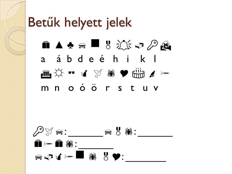 Betűk helyett jelek  ▲ ♣        a á b d e é h i k l  ☼         m n o ó ö r s t u v   : ______  : ______  : ______   