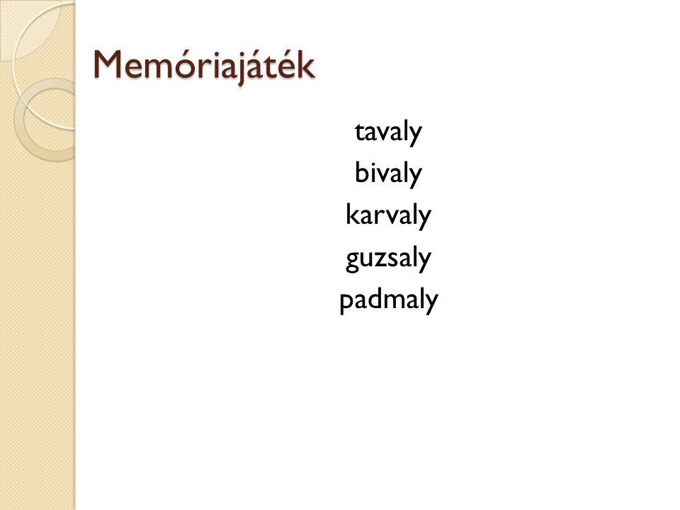Memóriajáték tavaly bivaly karvaly guzsaly padmaly