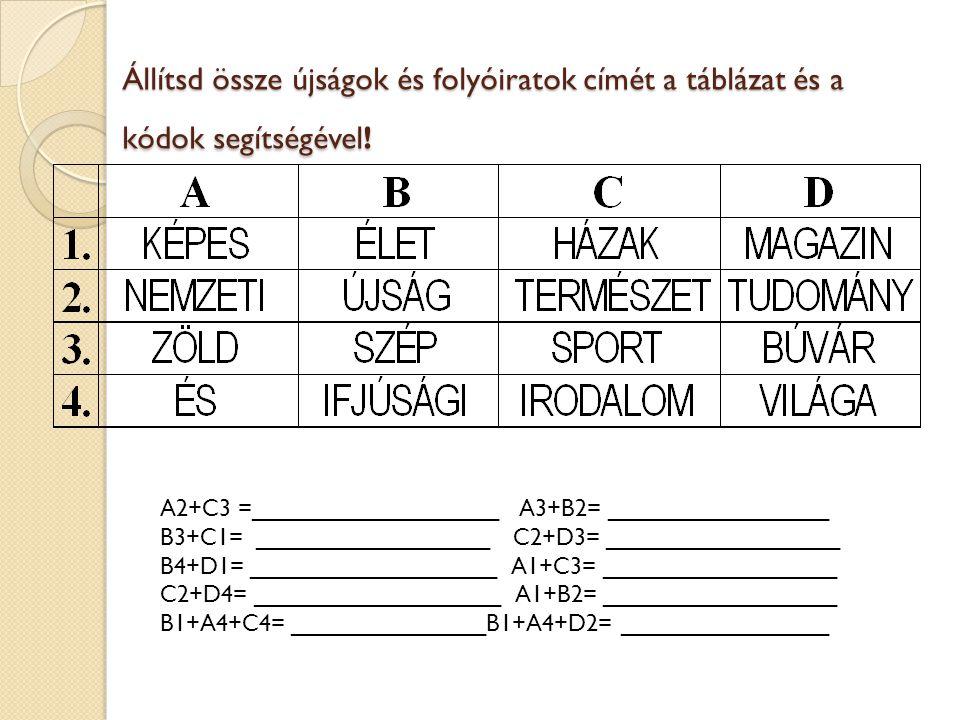 Állítsd össze újságok és folyóiratok címét a táblázat és a kódok segítségével! A2+C3 =___________________ A3+B2= _________________ B3+C1= ____________